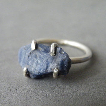 Raw Blue Sapphire Ring Sterling Silver Jewelry Precious Stone Ring Zen Jewelry by SteamyLab