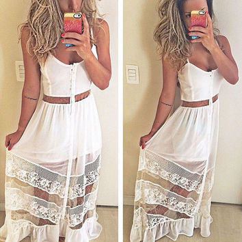 Plus Size   Spring  Maxi Dress  See-through High Waist Club Short Party Dress