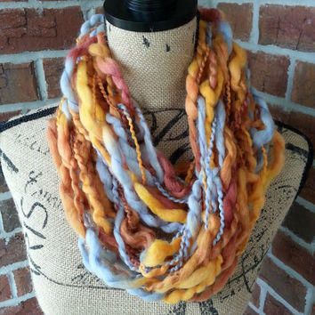 Wool Arm knitted infinity scarf, Orange and brown, neutral scarf, knit scarf, infinity scarf, Bulky arm knit scarf