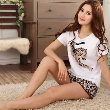 Lovers pajamas women short-sleeved summer  couple pajamas set sleepwear