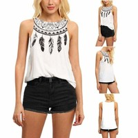 Summer Women's Lady Sleeveless Vest Tank Tops T-shirt Casual Printed Blouse Tops