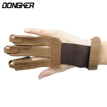 Hunting Archery Glove Shooting 3 Finger Protective Guard Finger Tip Protector Leather Safe For Archery Sports