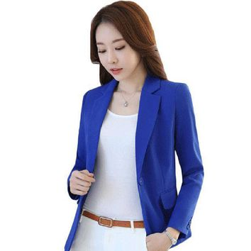 2016 New Style Spring Autumn Casual Suit Jacket Woman Slim Plus Size Blazer Candy Color Office Lady Blazer Coat Ss462