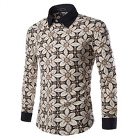 Mens Edgy Kaleidoscope Patterned Dress Shirt