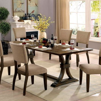 7 pc Gomeisa collection rustic oak finish wood trestle base dining table set