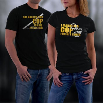 Cop Husband Matching Shirt, Couples Shirts, Couples Tshirts, His and Her Shirts, Wedding Anniversary Gift, Couples Gift