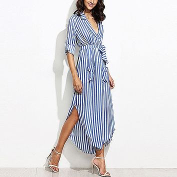 Belted V-Neck Roll Sleeve Striped Midi Shirt Dress