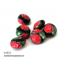 Black Lentil Beads with Red Roses, Handmade, Polymer, Jewelry Making Supplies, Bead Supplies - Blue Morning Expressions