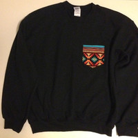 Unisex Custom Patch Pocket Crew Neck Sweatshirts