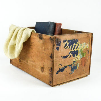 Vintage Rustic Wood Apple Crate / Industrial Storage Box