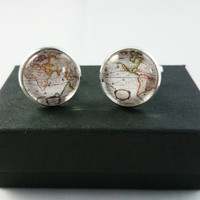 Vintage World Map Cufflinks, Mens Cufflinks, Custom Cufflinks, Special Gift for Fathers, Groom, Husbands