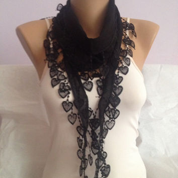 Black Scarf - Black Lace Scarf - Heart Lace - Wedding Scarf - Anniversary Scarf - Gift Scarf Cotton scarf