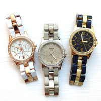 Pretty Two-Tone Color Metal Band Watches #W88