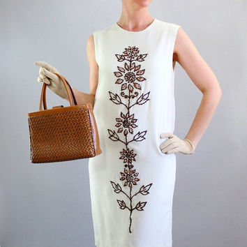 Chic 1960s Cream Brown Beaded Shift Day Dress. Mad Men. Cocktail Party Dress. Office. Spring Fashion