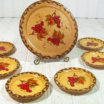 Vintage Wooden Hand Painted Trays Set of 7 - Retro Natural Wood Round Coasters Collection - BoHo Shabby Chic Accent