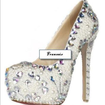 Custom Wedding Prom Shoes- White Pearls AB Rhinestone Platform Pumps Sizes 5.5-15