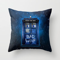 Tardis doctor who with Bad wolf graffiti Throw Pillow by Three Second
