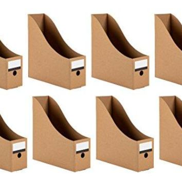 Magazine Holders  8Pack Corrugated Cardboard File Holders with Labels Document and File Organizer Kraft Paper Brown
