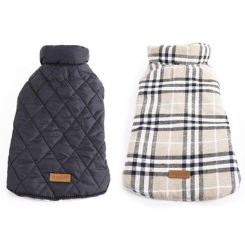 2017 Windproof Reversible Dog Jacket Designer Warm Plaid Winter Dog Coats Pet Clothes Elastic Small to Large Dog Clothes Winter
