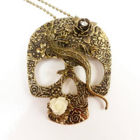 Antique Bronze Skull Necklace Gecko Roses Rhinestone Accents Gothic Primitive Punk Jewelry