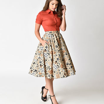 Plus Size Retro Cream Halloween Print High Waist Swing Skirt