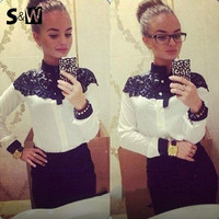 New 2015 Fashion Chic Chiffon Blouse Women Lace Chiffon Patchwork Clothing Sexy Elegant Long Sleeve Shirt Women Blouse = 1667670148