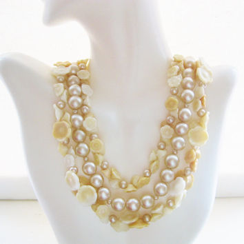 Japan Cream Pearl and Flower Triple Strand Necklace Beaded Pearl Multi Strand 1950s Designer Signed Jewelry