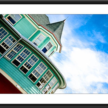 Green Victorian Home Photograph, Urban Architecture Photo, Ocean City Maryland, Fine Art Print Pastel, Home Decor, Fine Art Wall Print,