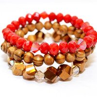 Glass and Wooden Beaded Stretch Bracelet (Red, Bronze, and Brown)