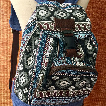 Boho Aztec Backpack Hippie Tribal Festival Men Women Style Canvas Woven school Tapestry backpack Native Ikat folk Southwestern Gift for him