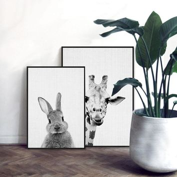 Front Back Rabbit Canvas Painting Black White Animal Poster Print Nordic Wall Art Picture for Kids Bedroom Home Decor Unframed