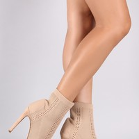 Knit Fitted Peep Toe Stiletto Booties