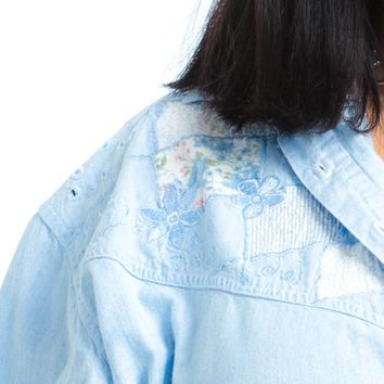 Vintage 90's Chambray Quilted Floral Shirt - XL/2X/3X
