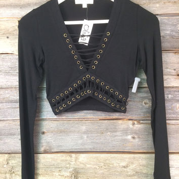 LACED UP CROP TOP - BLACK