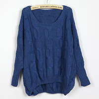 Women Bat Wing Blue Blends Loose Sweater One Size YS1074bl