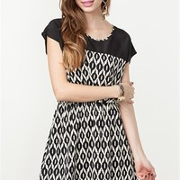 A'GACI Tribal Black + White Boatneck Dress - DRESSES
