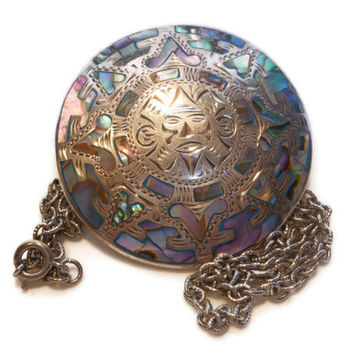 Vintage Mexican Mayan Sterling Silver and Abalone Mayan Pendant and brooch signed L.C.