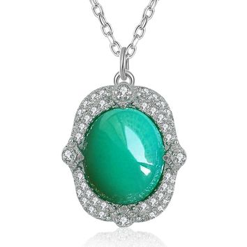 Caperci Valentines Day Gifts Sterling Silver Pavé CZ and Natural Opal Pendant Necklaces for Women, 18""