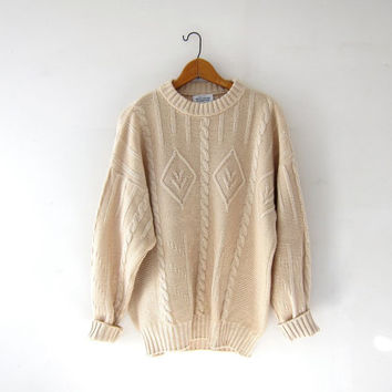 Vintage cream sweater. fishermans sweater. preppy Italian sweater. cable knit pullover.