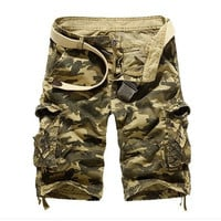 Men Stylish Casual With Pocket Camouflage Pants Shorts [6541848259]