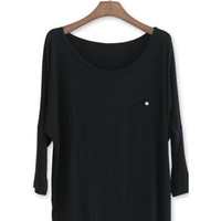 Simple Style Black Loose Girls T-shirts  : Wholesaleclothing4u.com