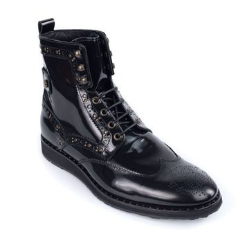 Roberto Cavalli Womens Black Patent Leather Boot Gold Hardware