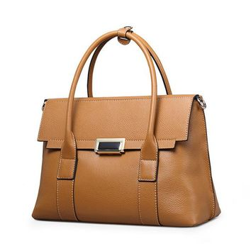 Women's Cowhide Leather Handbags Female Shoulder Bag Designer Luxury Lady Tote Large Capacity Zipper Handbag for Women