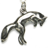 """Jumping Fox"" Silver Ghost Pendant by Steve Worthington Art"