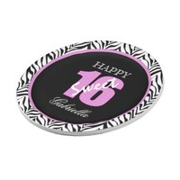 Personalized Zebra Sweet 16 Birthday Paper Plates 7 Inch Paper Plate
