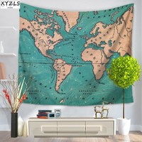 XYZLS Wall Tapestry World Map Polyester Tapestry Printed Beach Towel 150*200cm Yoga Mat 150*130cm Sofa Cover