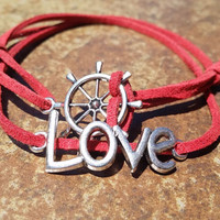 Red Leather Silver Love Rudder Bracelet Anklet Charm Men Women Unisex Fashion New Love Cute Diy Friendship