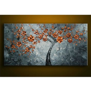 hand-painted Canvas Oil Painting Knife Thick Paint Copper Metal Flowers Painting Modern Home Wall Living Room Decor Art Picture
