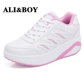 ALI&BOY Outdoor sport Sneakers Slimming Shoes Leather women 5cm wedges Swing Shoes running Fitness Lady Lose weight Shake shoes