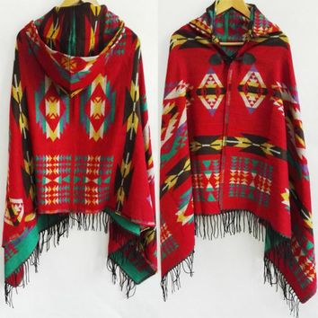 Tribal Fringe Bohemian Shawl Poncho Hoodies Jacket with tassels
